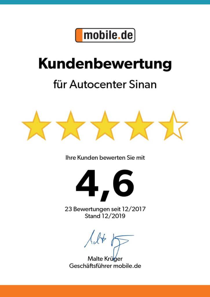Mobile Kundenbewertung Urkunde 12 2019 4,6_